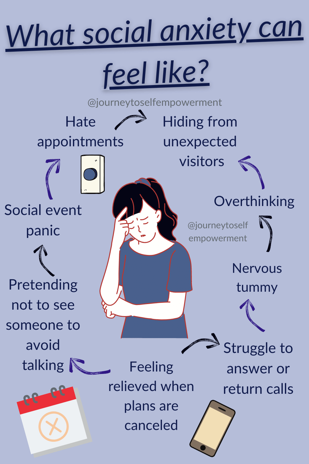 Text reading 'what social anxiety can feel like' with a woman wearing a blue shirt and black hair with her head in her hands and her arm folded across her stomach looking anxious